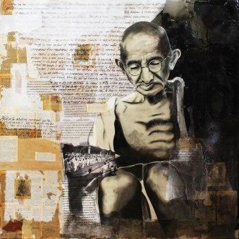 """""""Gandhi"""" (Front) 4'x4' SOLD"""
